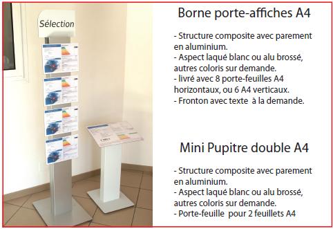 Borne A4 et Mini-Pupitre Double A4